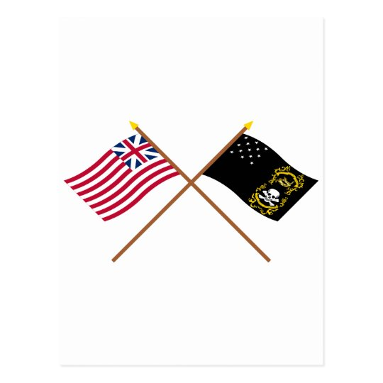 Crossed Grand Union and Veterans Exempt Flags Postcard