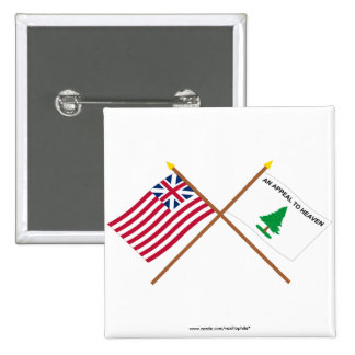 Crossed Grand Union and Washington's Cruisers Flag 2 Inch Square Button