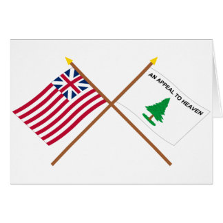 Crossed Grand Union and Washington's Cruisers Flag Card