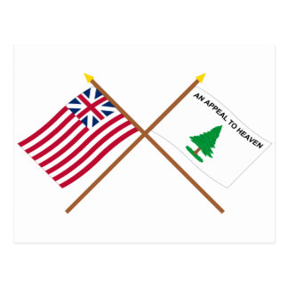 Crossed Grand Union and Washington's Cruisers Flag Postcard