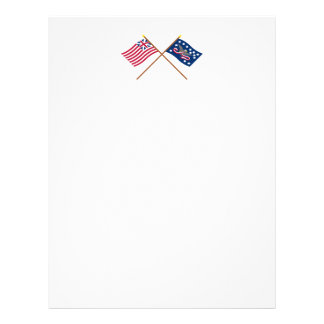 Crossed Grand Union and Whiskey Rebellion Flags Letterhead