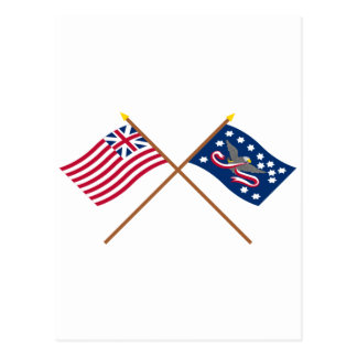 Crossed Grand Union and Whiskey Rebellion Flags Postcard