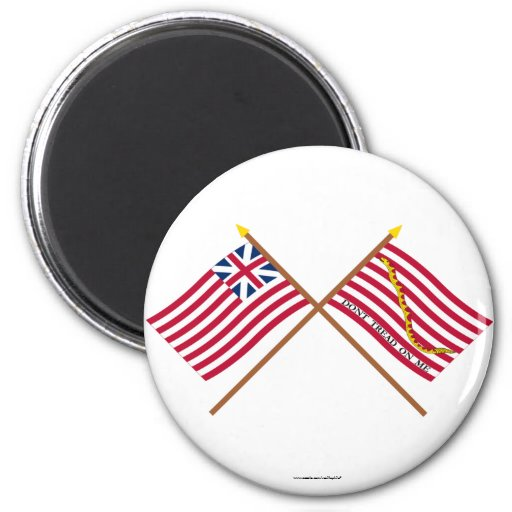Crossed Grand Union Flag and Navy Jack Refrigerator Magnet