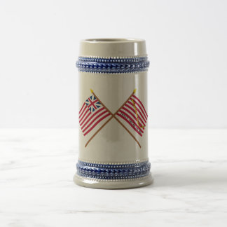 Crossed Grand Union Flag and Navy Jack 18 Oz Beer Stein