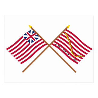 Crossed Grand Union Flag and Navy Jack Postcard