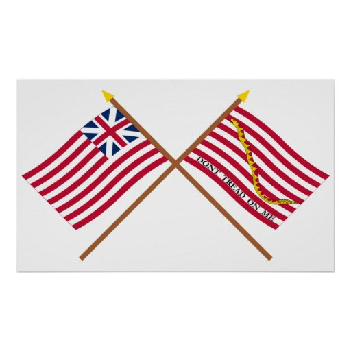 Crossed Grand Union Flag and Navy Jack Posters