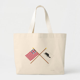 Crossed Grand Union Flag and New York Ensign Large Tote Bag
