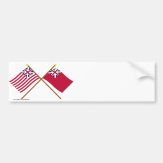 Crossed Grand Union Flag and Pine Tree Red Ensign Bumper Sticker