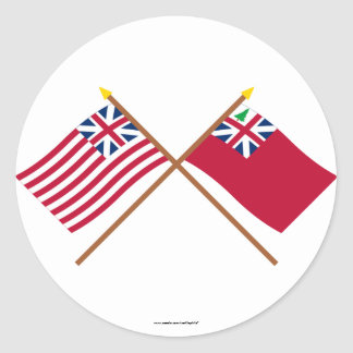 Crossed Grand Union Flag and Pine Tree Red Ensign Classic Round Sticker