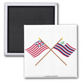 Crossed Grand Union Flag & New England Navy Ensign 2 Inch Square Magnet