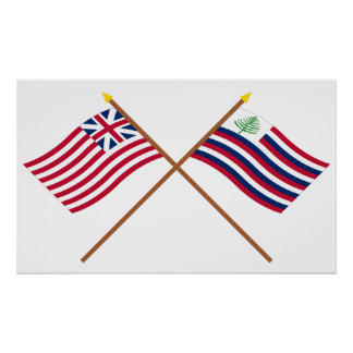 Crossed Grand Union Flag & New England Navy Ensign Poster