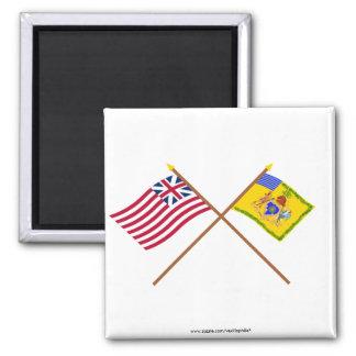 Crossed Grand Union Flag & Phila Light Horse Color 2 Inch Square Magnet