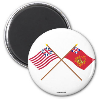 Crossed Grand Union & Proctor's Batallion Flags 2 Inch Round Magnet