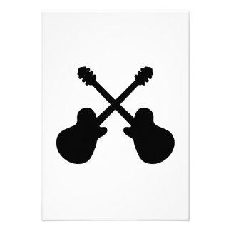 Crossed guitars custom invites