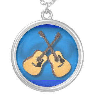CROSSED GUITARS-NECKLACE- ON BLUE SILVER PLATED NECKLACE