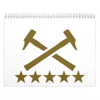 Crossed hammer stars calendar
