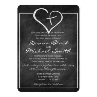 Crossed Heart Religious Wedding Invitations