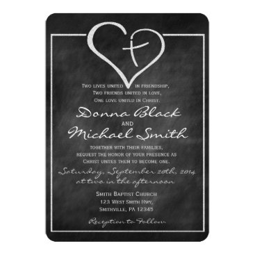 Valentines Themed Crossed Heart Religious Wedding Invitations