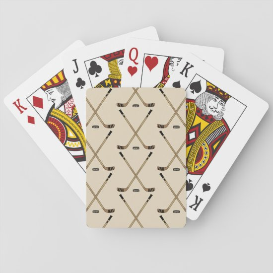 Crossed Hockey Sticks and puck Playing Cards