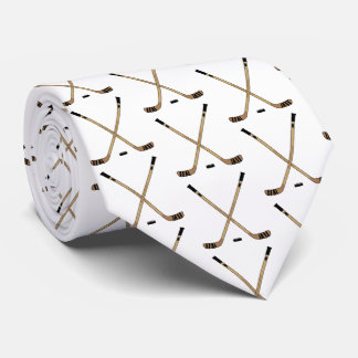 Crossed Hockey Sticks and Puck Tie