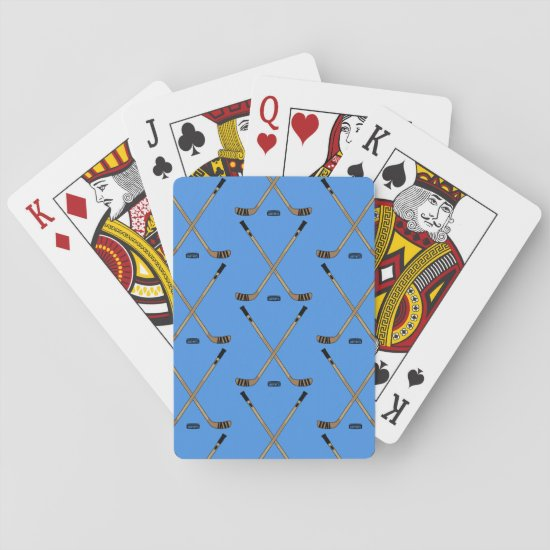 Crossed Hockey Sticks on Blue Playing Cards