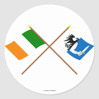 Crossed Ireland and Connacht Province Flags Round Sticker