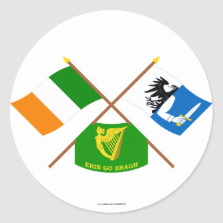 Crossed Ireland and Connacht Province Flags w Erin Stickers
