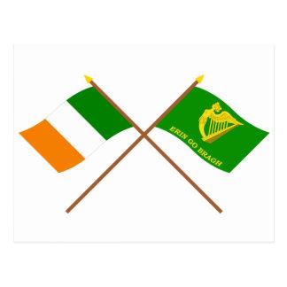 Crossed Ireland and Erin Go Bragh Flags Postcard