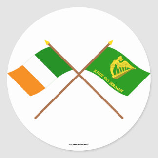 Crossed Ireland and Erin Go Bragh Flags Stickers
