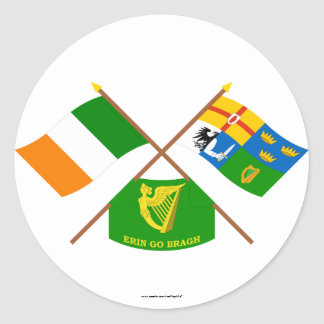 Crossed Ireland and Four-Province Flags with Erin Round Stickers
