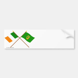 Crossed Ireland and Leinster Province Flags Bumper Sticker