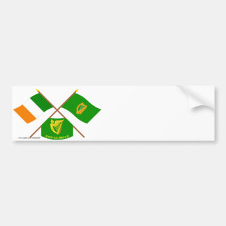 Crossed Ireland and Leinster Province Flags w Erin Bumper Sticker