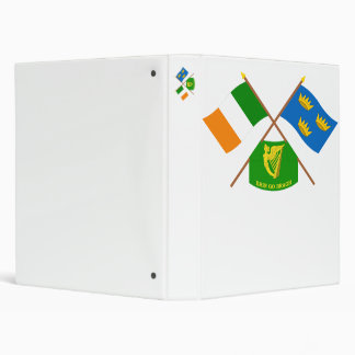 Crossed Ireland and Munster ProvinceFlags w Erin 3 Ring Binder