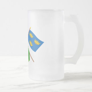 Crossed Ireland and Munster ProvinceFlags w Erin Frosted Glass Beer Mug