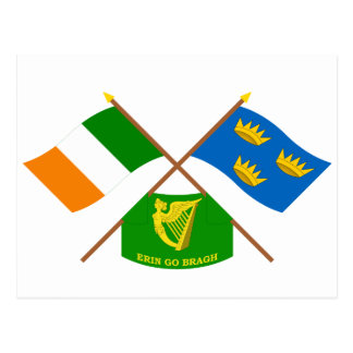 Crossed Ireland and Munster ProvinceFlags w Erin Postcard