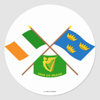 Crossed Ireland and Munster ProvinceFlags w Erin Round Stickers