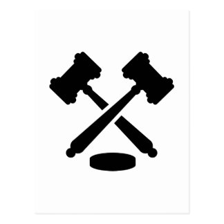 Crossed judge hammers postcard