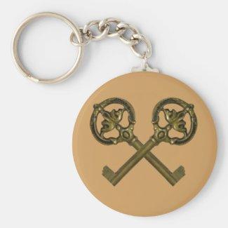 crossed keys basic round button keychain