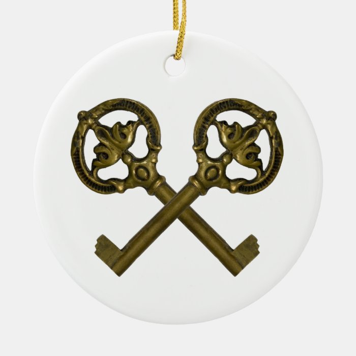 crossed keys ceramic ornament