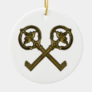 crossed keys Double-Sided ceramic round christmas ornament