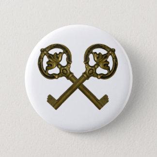 crossed keys pinback button