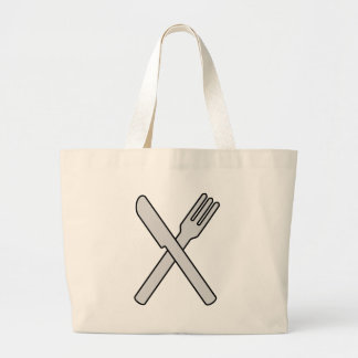 Crossed Knife and Fork Large Tote Bag