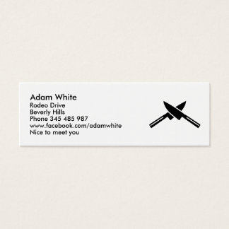 Crossed knives mini business card