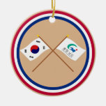 Crossed Korea and Chungchongnam-do Flags Christmas Tree Ornament