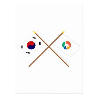 Crossed Korea and Kyongsangnam-do Flags Postcard