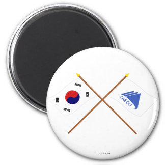 Crossed Korea and Taegu Flags 2 Inch Round Magnet