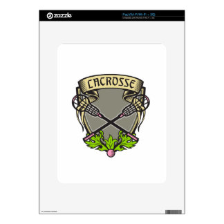 Crossed Lacrosse Stick Coat of Arms Crest Woodcut Decal For iPad