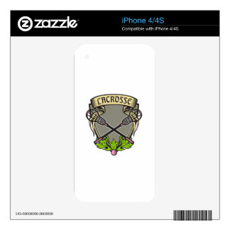 Crossed Lacrosse Stick Coat of Arms Crest Woodcut Decal For The iPhone 4S