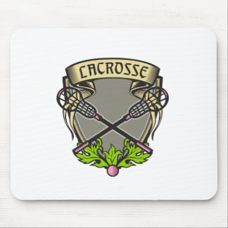 Crossed Lacrosse Stick Coat of Arms Crest Woodcut Mouse Pad