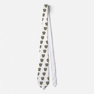 Crossed Lacrosse Stick Coat of Arms Crest Woodcut Neck Tie